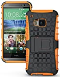 NAKEDCELLPHONE'S NEON Orange Grenade Grip Rugged TPU Skin Hard CASE Cover Stand for HTC ONE M9 Phone (Verizon, Sprint, AT&T, T-Mobile, Unlocked, One M9 2015)