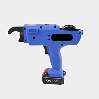 Electric Rebar Tying Machine,Automatic Cordless Tube Rebar Tier Tool,for Project Construction, 8-34MM,12V, Rechargeable Lithium Battery- Large Capacity Thickened Dual Battery-Blue