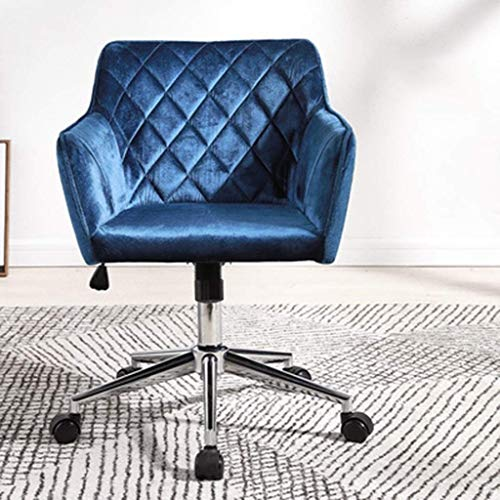ZXL Velvet Computer Chair, Modern Accent Swivel Chair, Ergonomic Back Office Chair, Adjustable Stools, for Home Study Living Room Vanity Bedroom, Blue, Mid Century Modern Style
