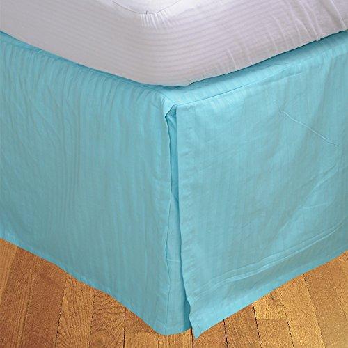 BudgetLinen 1pcs Box Jupe plissée de lit(Turquoise Bleu A_Rayures,Petite Chambre Double (4 pi x 6 pi 3\