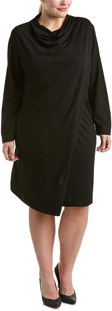 Joan Vass Plus Size Womens Draped Front Dress