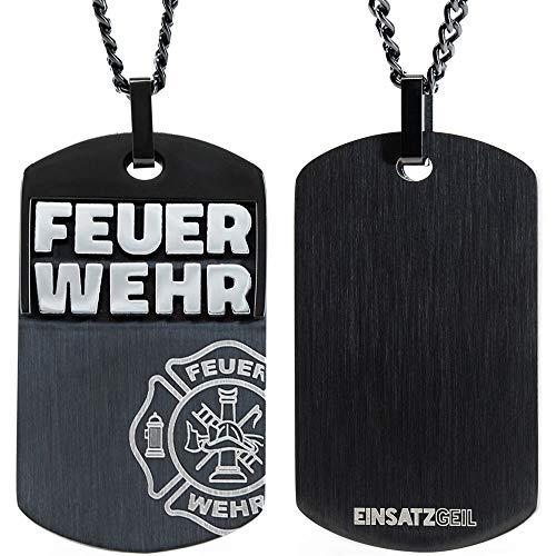 Einsatzgeil Halskette | Proudness by Herren-Schmuck Weihnachts-Geschenk Accesoire Dogtag Anhänger | Feuerwehr-Frau Feuerwehr-Mann Feuerwehr-Leute zu jedem Anlass | Edel-Stahl Kette hochwertig |