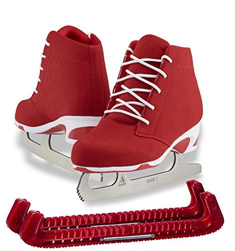 SKATE GURU Jackson Ultima Recreational Women's Figure Ice Skates Softec Diva DV3000 / Color: Red, Adult Size: 6 Bundle with Free Guardog Skate Guards