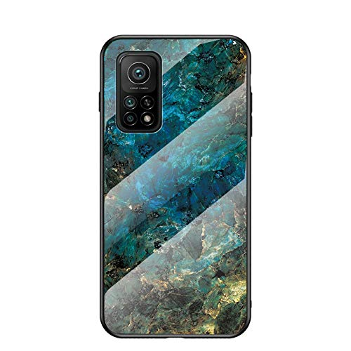 BeyondTop Funda para Xiaomi Mi 10T Pro 5G Marmol Case Tapa Trasera de Cristal Templado con TPU Edge Carcasa para Xiaomi Mi 10T Pro 5G (BLU)