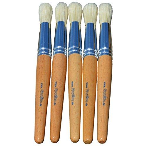 Pinceaux pour Enfants avec Gros Manche en Bois - brosses Rondes - Lot de 5