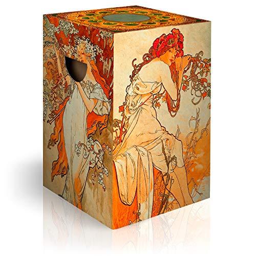 murando Papphocker Motiv Frauen im Jugendstil 45x30x30 cm faltbar Papier Hocker ergonomischer Karton Photohocker Falthocker h-C-0066-ap-a