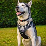 BABYLTRL Silver Big Dog Harness No-Pull Anti-Tear Adjustable Pet Harness Reflective Oxford Material Soft Vest for Medium Large Dogs Easy Control Harness (L, Black)