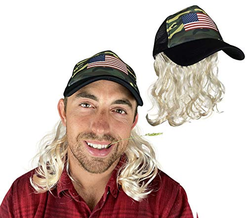 Watt's Wigs - Mullet Hat with Bleach Blond Hair - Camo Trucker Hat with Wig - Fits Kids and Adults