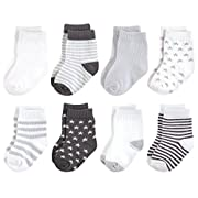 Touched by Nature Baby Organic Cotton Socks, Charcoal Stars, 6-12 Months