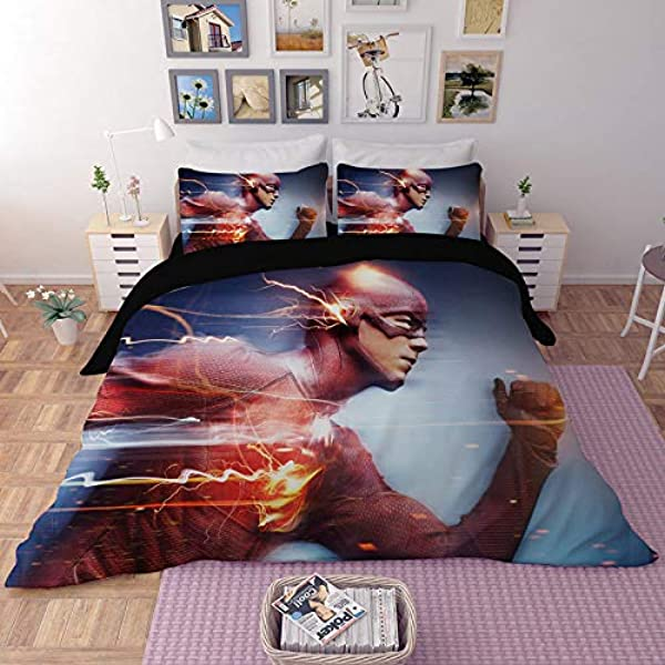 EVDAY The Flash Duvet Cover Set For Kids 3 Piece Ultra Soft Microfiber Bed Cover Set Including 1Duvet Cover 2 Pillowcases King Queen Full Twin Size