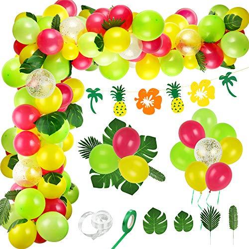 Auihiay 90 Pieces Tropical Balloons Garland Arch Set with Tropical Leaves and Pineapple Banner for Summer Hawaiian Beach Party Decorations, Wedding Birthday Party or Baby Shower