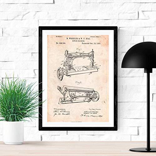 Nacnic Poster de Patente de Maquina de Coser. Lámina para enmarcar. Poster con diseños, Patentes, Planos de inventos Famosos. Tamaño (A3 con Marco)