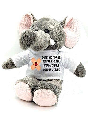 Gute Besserung Kuscheltier Elefant mit Namen Tröster für kranke Kinder bei Krankenhausbesuch chronischer Krankheit Farbe grau
