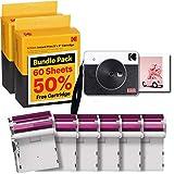 """Kodak Mini Shot 3 Retro Cámara Instantánea E Impresora Fotográfica Inalámbrica Portátil, Compatible con iOS, Android y Bluetooth, Foto Real HD 3""""x3"""", Tecnología 4Pass – Paquete de 60 Hojas – Blanco"""