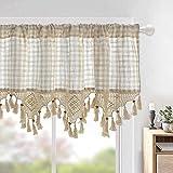 choicehot Vintage Plaid Crochet Lace Visillo Beige Cafe Elegant Cotton Linen Short Curtains Country Style Kitchen Curtain Retro Shabby Bistro Curtain 1 pieza H45 × W180 cm
