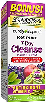 Detox Cleanse | Purely Inspired 7 Day Cleanse and Detox Pills | Acai Berry Cleanse | Whole Body Cleanse Detox for Women & Men | Body Detox with Senna Leaf & Digestive Enzymes | 42 Acai Berry Capsules