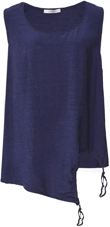 Crea Concept Women's Linen Blend Tie Side Vest Top Navy