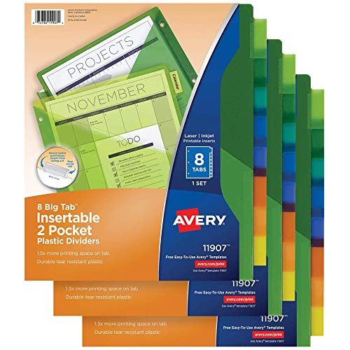 8-Tab Plastic Pocket Dividers for Home Office or Homeschool Supplies, Insertable Multicolor, 3 Sets - 1