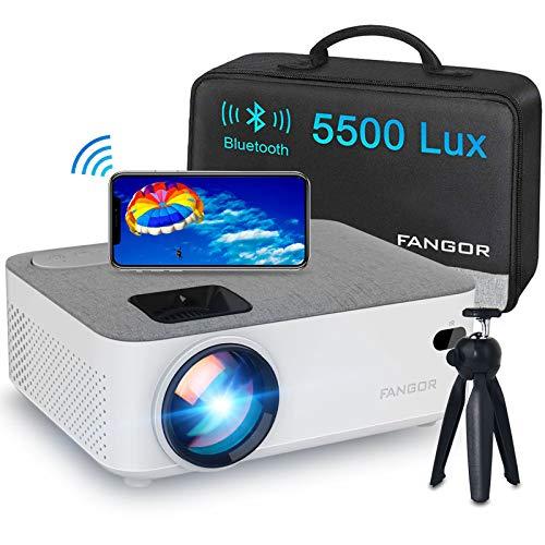 Mini WiFi Beamer, FANGOR Bluetooth Beamer Native 720P Support 1080P HD, 200'' Display 5500 Lumen Heimkino Beamer kompatibel mit HDMI/VGA/USB/SD/AV for Android/iPhone/PC/TV Stick