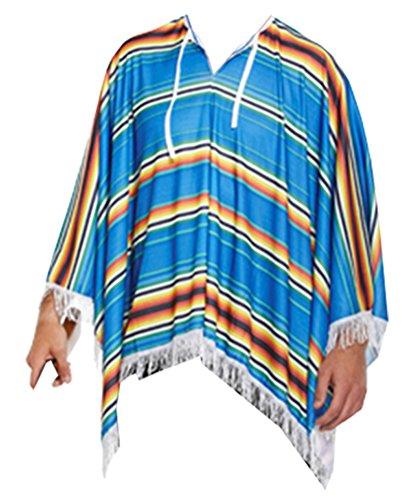 TrendyFashion para Hombre Multicolor para Disfraz DE DISEÑO DE Estilo Mejicano Poncho para Encendedor con Bigote DE Vaquero Gorro DE Disfraz para Adulto