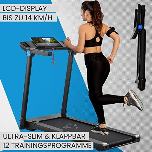 ArtSport Ultra Slim Laufband Speedrunner SR1418 klappbar - große Lauffläche 120x44 cm - bis 14 km/h - 12 Programme – LCD-Display & iPad Halterung
