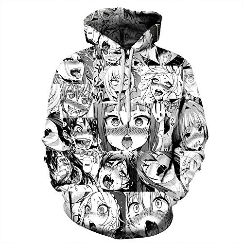 ISAAC ENGLAND Sudaderas con Capucha 3D Ahegao con Capucha Mujeres Hombres Sudadera con Cara de niña tímida Divertida Hentai Manga Streetwear Harajuku Tops de Gran tamaño 5XL
