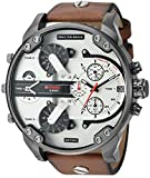 Diesel Men's DZ7394 Mr. Daddy 2.0 Gunmetal IP Brown Leather Watch
