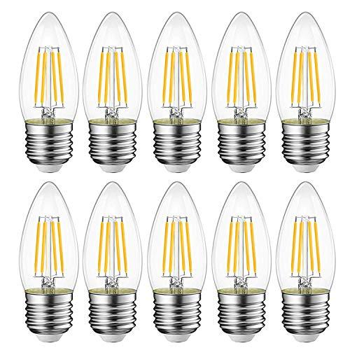 EXTRASTAR E27 LED Lampen, 400Lm, 4W ersetzt 40W Halogenlampen, 220-240V, 3000K Warmweiß, C35 Classic Glühfaden kerzenlampe, Nicht Dimmbar, 6 Stück [Energieklasse A++]