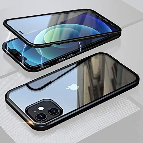 ANAcase - Funda para iPhone 12 Mini con absorción magnética, 360 grados, protección contra golpes de metal, parte delantera y trasera de cristal templado, diseño de una sola pieza, color negro