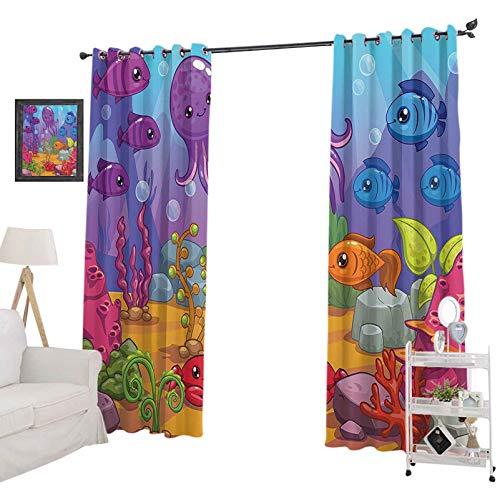 YUAZHOQI cortina opaca panel del mundo subacuático de dibujos animados pulpo arrecife arena algas burbujas diseño, cortinas para sala de estar dormitorio 132 x 160 cm, púrpura azul naranja