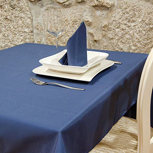 BgEurope Luxe Bleu uni Nappe anti taches Proof résistant – Rectangle – Grandes tailles, bleu, (140cm x 350cm (55\