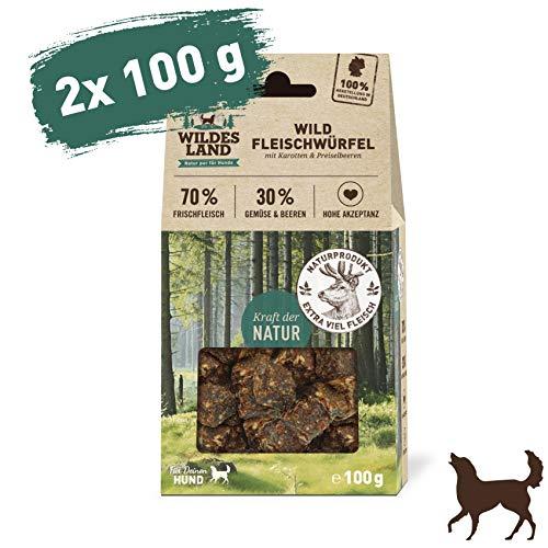 Wildes Land | Fleischwürfel Wild | 200 g | Kausnack für Hunde | 70% Frischfleisch | 30% Gemüse & Beeren | Natürlich belohnen | getreidefrei | Hohe Akzeptanz | Frisches, schonend getrocknetes Fleisch