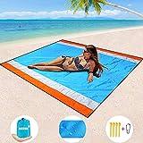 """HEHUI Beach Blanket, Extra Large Sand proof Beach mat 82""""x79"""",Portable Outdoor Beach Mat"""