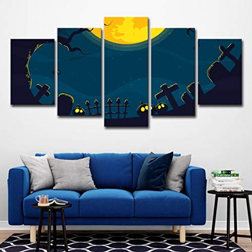 lijuan store Kinderzimmer dekorative Malerei 5 Platten mit Rahmen Leinwand Malerei Wohnzimmer Schlafzimmer Wandmalerei 50CM Halloween Spinne Grabstein
