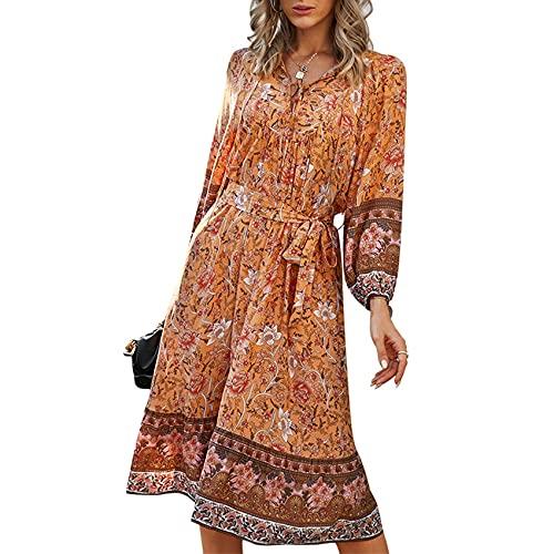 XYJD Lente en zomer dames casual losse lange rok V-hals print pullover jurk dames - oranje - 5XL