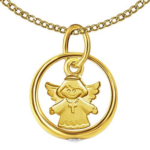 Clever Schmuck Set gouden kleine doopring glanzend zirkonia wit met hanger 7 mm kinderengel kruisketting dragend zijdemat en ketting brede pantser 34 cm beider 333 goud 8 karaat