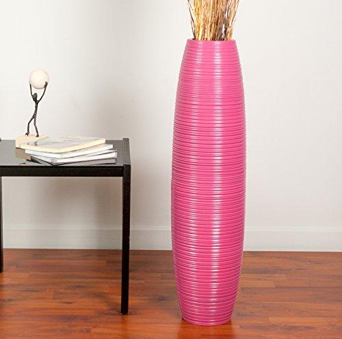 Leewadee Grand Vase à Poser au Sol - Vase à Poser au Sol pour Branches décoratives, Vase Haut Design en Bois de manguier, 75 cm, Rose Fuchsia