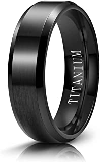 M MOOHAM Titanium Rings 4mm 6mm 8mm 10mm Wedding Bands Matte Beveled Edge Comfort Fit for Men, Black, Gold, Silver, Blue, ...
