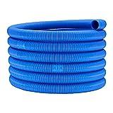 NiceJoy Manguera de Piscina 32 mm, Tubo de Drenaje para la filtración de la Piscina 6.3m, Tubo plástico Piscinas jardín,Manguera de 2 Terminales para Limpiafondos de Piscina,Azul