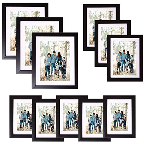 Voilamart Picture Frames Set of 11, Multi Pack Photo Frame Set Wall Gallery Kit - Display Three 8x10 in, Three 6x8 in, Five 5x7 in, with Wall Template and Hanging Hardware, Black