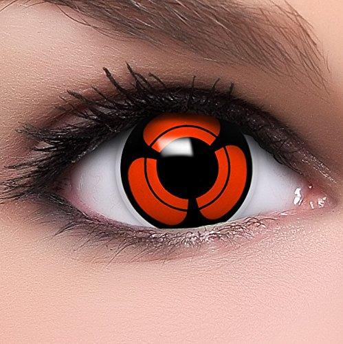 Funzera®[Sharingan] Lenti a contatto colorate Naori's Mangekyou con portalenti - non corrette, in confezione da due: comode da indossare e ideali per Halloween o Cosplay