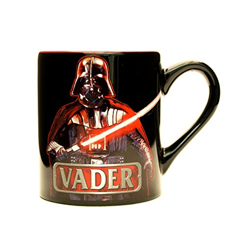 Silver Buffalo Star Wars Darth Vader Text Ceramic Mug,...
