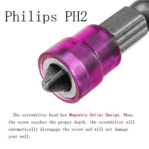 Magnetic Collar Design Phillips Screwdriver Bits 5Pcs 1/4 Inch Hex Shank PH2 Phillips Bit Cross Screw Screwdriver Bits Set Electric Power Driver Bit Set (Single head) Muye
