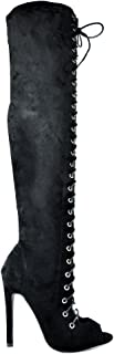 Chase & Chloe Emelia-9 Slim Heel Front Lace Up with Side Zipper Women's Thigh High Boot