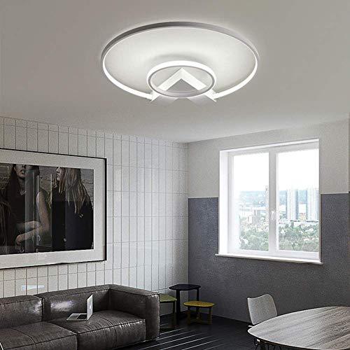K.LSX Led plafondlampen voor woonkamer, moderne kroonluchters plafondlampen met afstandsbediening, creatieve 2 ringen ontwerp ronde plafond lamp acryl lampenkappen (traploos Dimbaar)