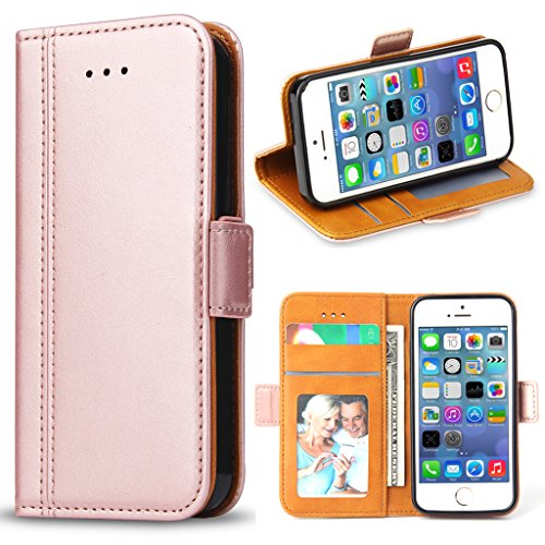 Bozon iPhone 5S Hülle, iPhone SE Hülle, iPhone 5 Hülle, Leder Tasche Handyhülle Flip Wallet Schutzhülle für iPhone 5/ SE/ 5S mit Ständer und Kartenfächer/Magnetic Closure (Rose Gold)
