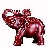 HongLianRiven maniquíes Suerte Elefante Adornos, Duradero Resina, Utilizada en Auspicioso Craft Adornos en la Entrada de Feng Shui de la Sala (29 * 18 * 25) (Color : Red)