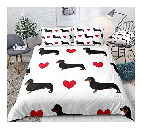 ZMK-720 Bedding Bed Sheets Cute Sausage Dog Duvet Cover Set Dog Bed Set Animal Quilt Cover Dachshund Cartoon Home Textiles King (Color : 03, Size : AU Double)