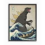 Stupell Industries Godzilla in The Waves Eastern Poster Style Illustration Black Framed Wall Art, 11 x 14, Design by Artist Michael Buxton