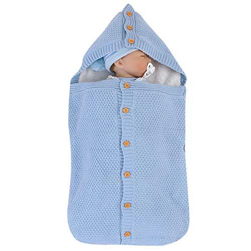 Ruiqas pasgeboren babywinter-gebreide slaapzak babywikkeldeken kinderwagenverpakking kleinkind wikkelen sterke warme slaapzakjes lichtblauw